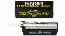 For use with the Artist Club DX and SS. The Professional Blade is given a triple grinding for optimum edge angle. In addition to the grinding, each blade is also given a double coating. The first is a platinum alloy coating for increased durability, and the second is a resin coating  to create low friction during the shave. Each pack contains 20 blades, and there are 10 packs in an outer.