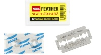 The Feather New Hi Stainless Blade is a platinum coated, double edge blade, that is in our opinion the sharpest blade on the market. Each pack contains 10 blades, and there are 20 packs in an outer.